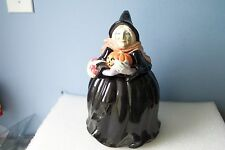 Vintage GREEN HALLOWEEN Witch FITZ & FLOYD Cookie Jar with Lid! 1987 BOO! INSIDE