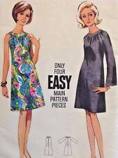 UC Vtg Butterick 4304 Sew Pattern Easy 1960s Shift Sun Dress Mad Men Era Retro