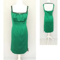 Debut Dress 20 Green Satin Midi Embellish Beads Party Evening Debenhams NEW £90