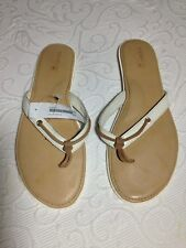 NEW 'Top-Sider' Ivory Patent Tan Trim Non-Marking Flip Flop Thong Sandals - 10 M