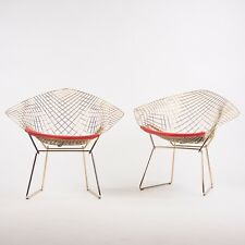 New Pair of 18k Gold Knoll Studio Harry Bertoia Wire Diamond Chairs Red 5k MSRP