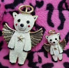 Betsey Johnson 2pc Snow Angel Bear Pin Brooch Set Christmas Gift Holiday Fun
