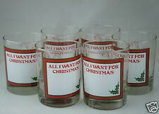 VINTAGE GLASSWARE BARWARE PARTY 6 BRANDY ROCK GLASS SET ALL I WANT FOR CHRISTMAS