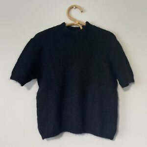 Large Womans Vintage 90s Black Fuzzy Short Sleeve Mock Neck Sweater NWT