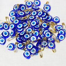 Turkish Evil Eye Blue Beads Heart Safety Pins New Born Baby Boy Safety Pins