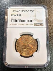 1957 MS66 RB Mexico 20 Centavos NGC UNC KM 440