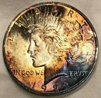 1923 Peace Silver Dollar $1 Rainbow Toned Lustrous Gem Uncirculated