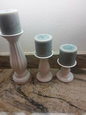 Set Of 3 White Pillar Candle Holders