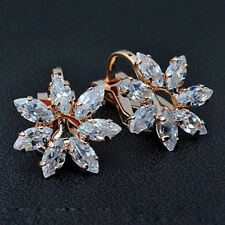 18K ROSE GOLD PLATED GENUINE CLEAR CUBIC ZIRCONIA FLOWER CLIP-ON  EARRINGS