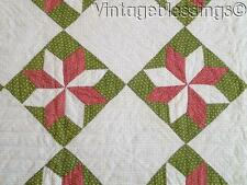 Outsanding Antique c1880 Red Green Stars Quilt Gorgeous! 77x68