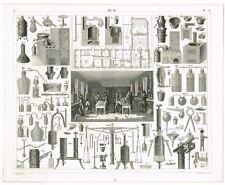 ORIGINAL ANTIQUE PRINT VINTAGE 1851 ENGRAVING CHEMISTRY SCIENCE LAB APPARATUS