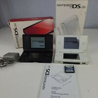 Nintendo ds lite lot boxes one charger 1 game READ