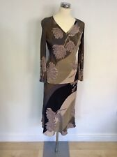 MONSOON BROWN, GREY & PINK SHADES FLORAL PRINT SILK TOP & SKIRT SUIT SIZE 8