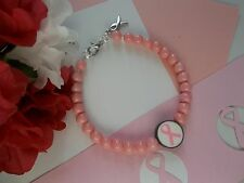 Ribbon Beaded Bracelet Breast Cancer Awareness Pink