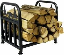 Rustic Black Bear Forest Firewood Log Holder Wood Extra Strength Wrought Iron