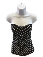 White House Black Market Women's Black/White Stretch Strapless Top Sz M