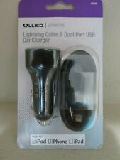 ALLIED 45584  Dual Port USB Car Charger W/Lightning cable for iPhone iPad iPod