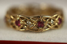 HEAVY FRANKLIN MINT GIVENCHY 83 14K YELLOW GOLD RUBY DIAMOND ETERNITY RING 14KT