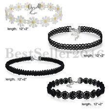 4pcs Womens Girls Black Classic Tattoo Velvet Lace Choker Collar Necklace Chain