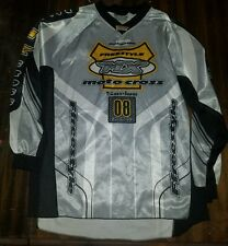 Men's size L moto cross long sleeve shirt silver black yellow motorcycle dirt