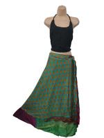 Recycled Silk Skirt Sari Vintage Wrap Reversible Green Yellow 8 10 12 14 16 18 O