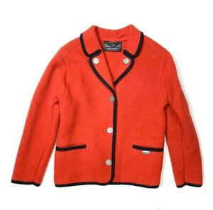 Giesswein Austria Womens Jacket Red Wool Blazer Coat High End Knit Black Trim