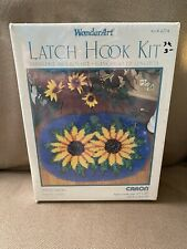 "Caron Wonderart Latch Hook Rug Kit Sunflowers 20"" X 27"" #4274 Nip Still Sealed"