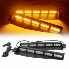"""34"""" Inch 40W LED Warning Emergency Strobe Visor Dash Deck Split Light Bar Amber"""
