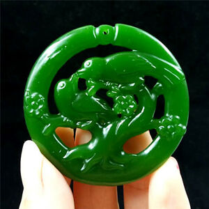 New Natural Green Jade Necklace Pendant Rope Lucky Amulet Jewelry Gemstone bird