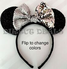 NEW Minnie Mouse Ears Headband Black Color Changing Flip Sequin Champagne Silver