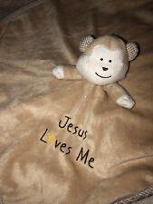 His Gem JESUS LOVES ME MONKEY Baby SECURITY Blanket RELIGIOUS Lovey RATTLE HEAD