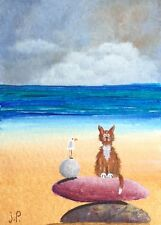 Original Acrylic ACEO Painting by JULIA Seaside Cat & Seagull Seascape Sand