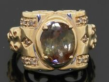 14K gold 3.21CTW diamond/10 X 8.2mm Oval andalusite cocktail ring size 7.25