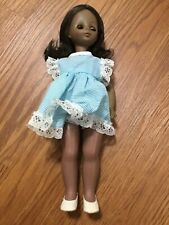 VINTAGE Horsman Girl Doll African American Black Doll with Blue White Dress 1979