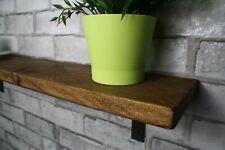 Rustic  Industrial Retro Shelf Shelves Metal Bracket Solid Wood 15cm Depth