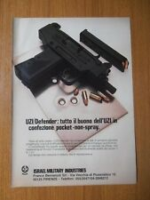 UZI DEFENDER ARMA FUCILE PISTOLA ISRAEL MILITARY INDUSTRIES 1985 PUBBLICITA AD