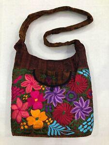 Guatemala Handmade ARTISAN Multicolor Boho Hippie Shoulder Bag Purse BROWN B018