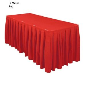 6 Meter Red Polyester Table Skirting Skirt Table Cloths Wedding Events Party