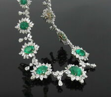 Fine 43.07ct Colombian Emerald & 43.89ct Diamond Platinum & 18K Gold Necklace