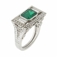 Vintage Art Deco 2.46 Ct Emerald Diamond 14K White Gold Engagement Wedding Ring