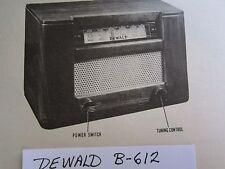 DEWALD B-612 RADIO PHOTOFACT