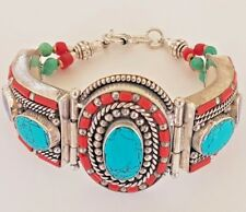 Handcrafted Tibetan Silver Turquoise & Coral Bracelet Boho Cuff Nepal Bangle