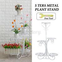 5 Tier Metal Plant Stand Holder Flower Pot Shelf Display Rack Ladder Home