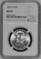 :1961-D 50C Franklin Half Dollar Rare Gem-BU NGC MS-65 Low-Pop Highest-Grades