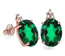 EMERALD & DIAMOND 10K SOLID GOLD EMERALD AND DIAMOND EARRINGS HALLMARKED GENUINE