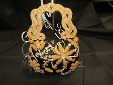 MARY FRANCES Retired Clutch Black and Gold Flowers Handbag - NWT