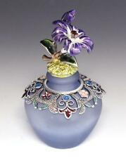 NEW PURPLE GREEN ENAMEL FLORAL DECORATIVE BLUE FROSTED MOFITS PERFUME BOTTLE