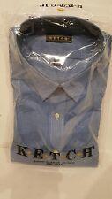 Men's Ketch Size 18 Dress Shirt Long Sleeve 34/35 New Big Man Blue j21