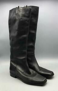 Womens Vero Cuoio Italian Black Leather Zip Boots Shoes Size 8 M