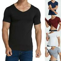 Breathable Anti-Dirty Men V Neck T-shirt Hydrophobic Waterproof Quick Dry Top